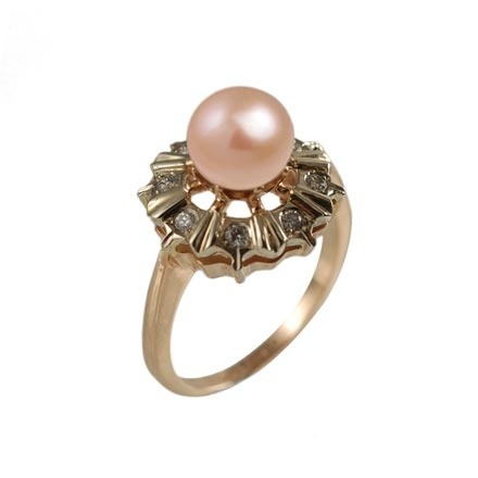 Pink pearl Faberge classic diamond ring