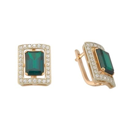 Old Fashion Earrings. Man Made Emerald Baguette and CZ