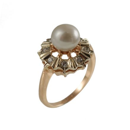Gold pink pearl ring