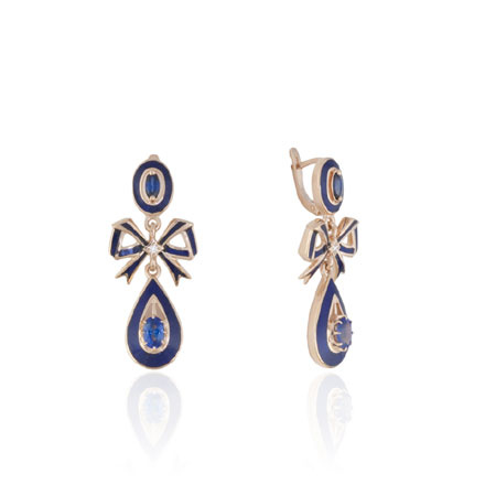 Royal Couture Bow Earrings. Diamonds, Sapphires, Enamel