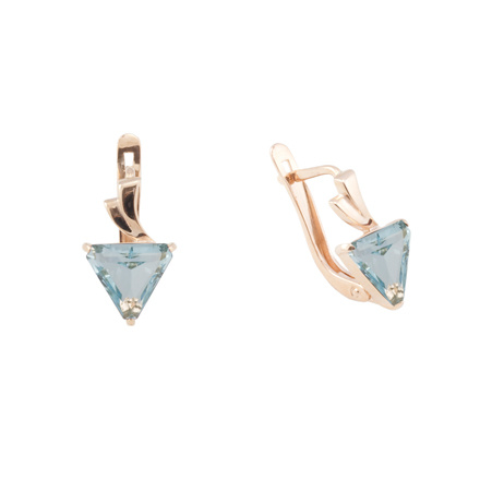 Blue Topaz Rose Gold Earrings