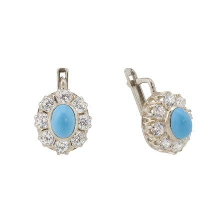 Russian silver turquoise halo earrings in the USA and Canada
