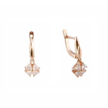 Drop earrings with triangular CZ