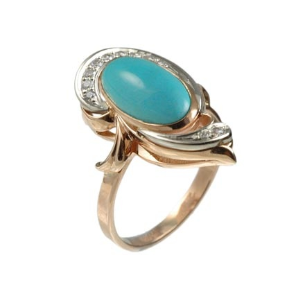 Turquoise and Russian diamonds ring