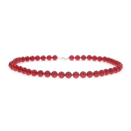 Coral Bead Statement Necklace. Sterling Silver Clasp