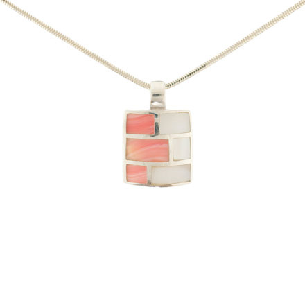 Coral & Mother-of-Pearl Silver Pendant