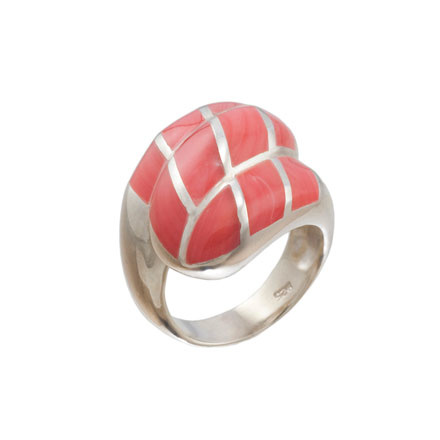 Coral Statement Silver Ring