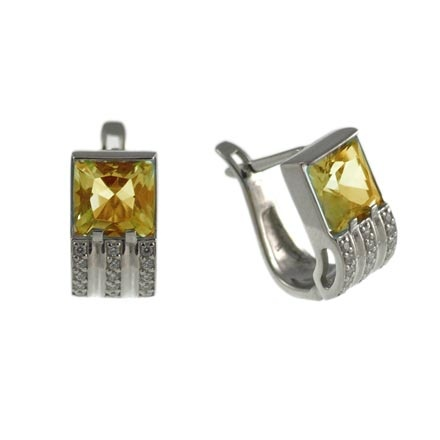 Citrine White Gold Leverback Earrings