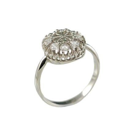 White Gold Round Party Ring from Russia