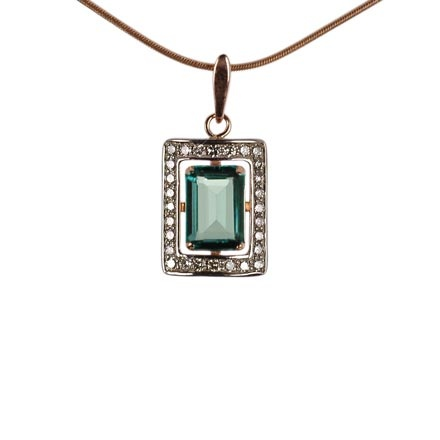 Old Fashion Pendant. Faux Emerald Baguette and CZ
