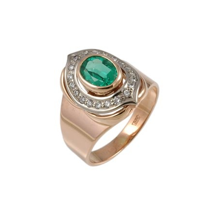 Two tone gold ring with lab emerald and CZ