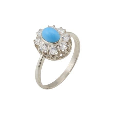 Turquoise CZ Halo Silver Ring