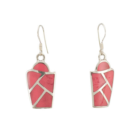 Micro Mosaic Coral Silver Earrings