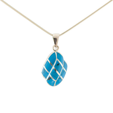 Micro mosaic turquoise silver pendant
