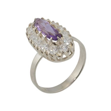 Elongated Amethyst Silver Ring