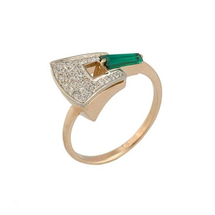 Faux emerald rose and white gold ring