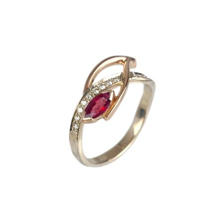 Ruby & Diamond two-tone gold ring