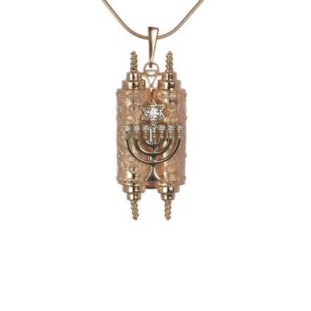 Diamond Menorah Torah Locket
