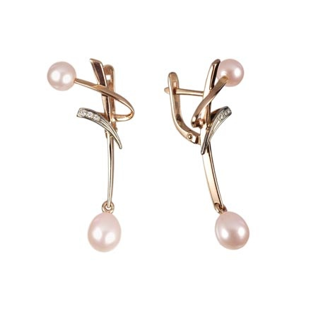 Japanese Style Pink Pearl Earrings