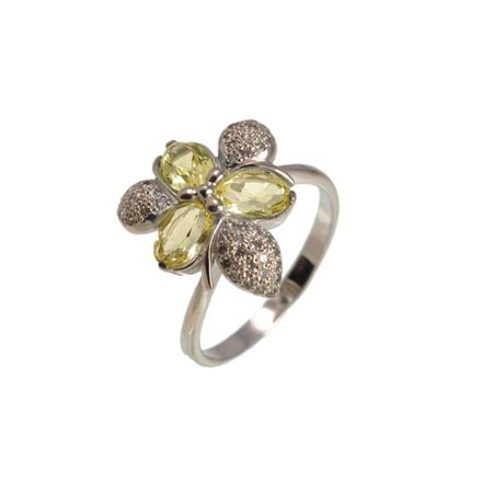 Floral Motif Citrine White Gold Ring