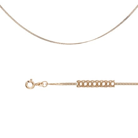 Double Rombo-link Chain (0.3 mm Wires). Diamond Cut Solid Rose Gold