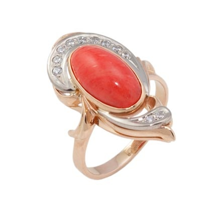 Coral Russian gold party ring