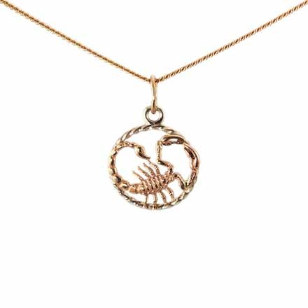 Twisted Wire Decor Pendant 'Scorpio Zodiac'. (October 24-November 22)