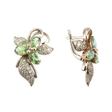 'Firebird' Earrings with Peridot