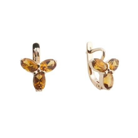 Citrine rose gold earrings