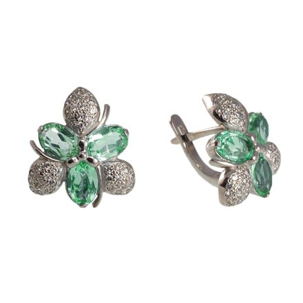 Floral Motif Faux Emerald Earrings. Palladium White Gold