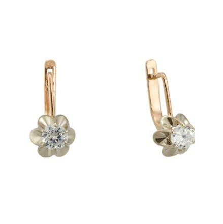Russian gold Russian CZ earrings