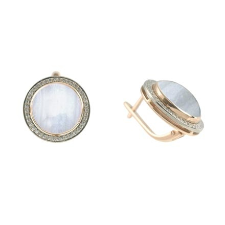 Mother-of-Pearl & CZ Halo Earrings