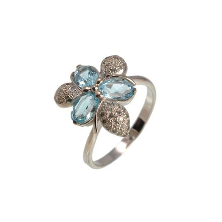 Floral Motif Blue Topaz and CZ Ring. Hypoallergenic 585 (14K) White Gold