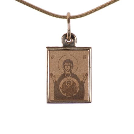 The Mother of God 'Oranta'. Byzantine Style Gold Body Icon