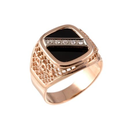 Black Onyx Diamond Signet Ring