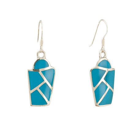 Micro Mosaic Turquoise Silver Earrings