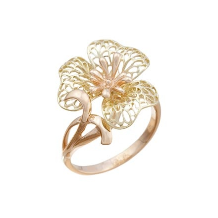Green and pink gold ring