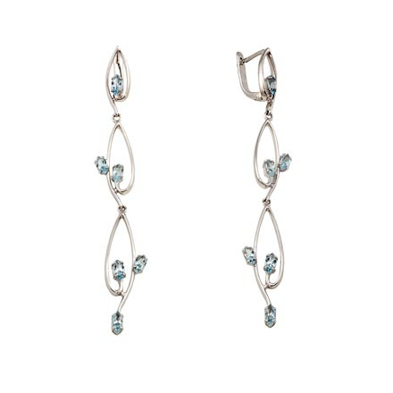 Blue Topaz Russian White Gold Earrings