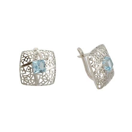 Openwork Blue Topaz Earrings