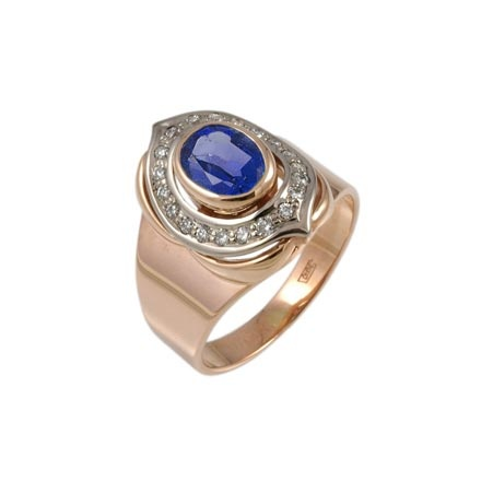 Lab created sapphire gold ring