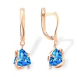 Trillion-shaped Blue Topaz Earrings. 585 (14kt) Rose Gold