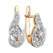 Diamond Teardrop-shaped Earrings. 585 (14K) Rose and White Gold