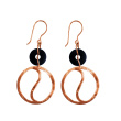 Black CZ Circle Dangle Earrings