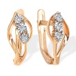 Abstract Floral Earrings with Diamonds. 585 (14kt) Rose Gold, Rhodium Detailing