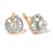 White Pearl and Diamond Spiral Earrings