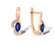Oval Sapphire & Diamond Leverback Earrings
