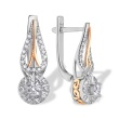 Art Deco-Inspired Diamond Earrings. 585 (14kt) White and Rose Gold