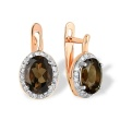 Smokey Quartz and Diamond Earrings. Hypoallergenic 585 (14K) Rose Gold