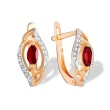 Ruby and Diamond Leaf Earrings. 585 (14kt) Rose Gold