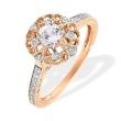 Diamonds and Natural Topaz by Swarovski. 585 (14kt) Rose Gold, Rhodium Detailing